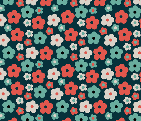 Retro Flower Navy fabric by papersparrow on Spoonflower - custom fabric