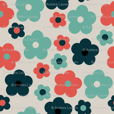 Retro Flower Taupe