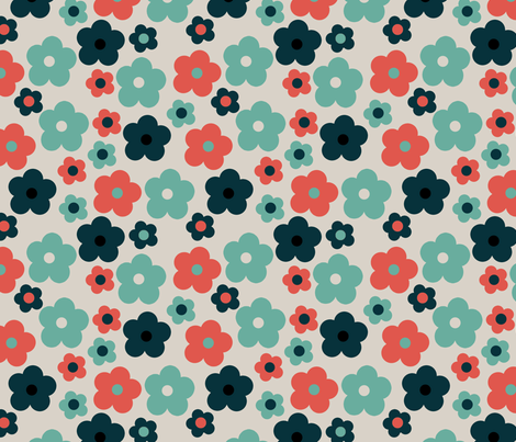 Retro Flower Taupe fabric by papersparrow on Spoonflower - custom fabric