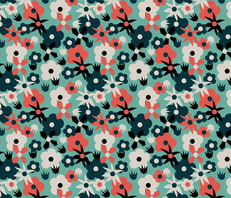 Retro Mixed Flower Blue fabric by papersparrow on Spoonflower - custom fabric