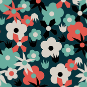 Retro Mixed Flower Navy