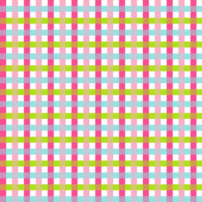 Pink blue green check