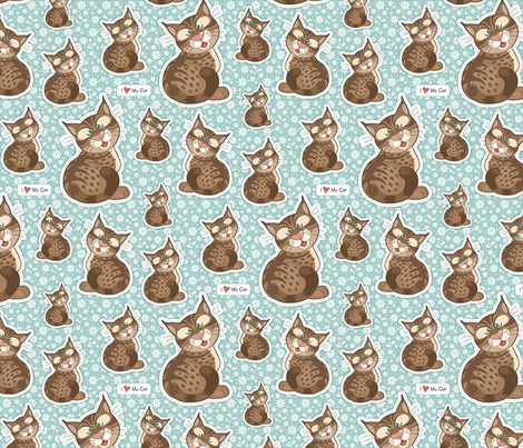 love_my_cat_aqua fabric by woodmouse&bobbit on Spoonflower - custom fabric