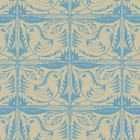 Beady Eyed Bird (blue on beige) fabric by wednesdaysgirl on Spoonflower - custom fabric