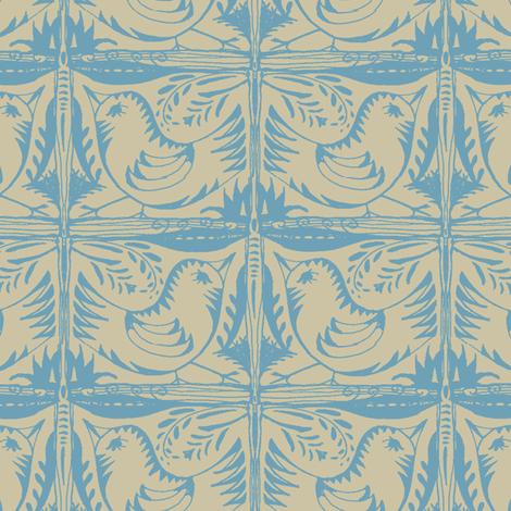 Beady Eyed Bird (blue on beige) fabric by wednesdaysgirl on Spoonflower - custom fabric