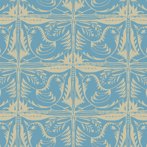 Beady Eyed Bird (beige on blue) fabric by wednesdaysgirl on Spoonflower - custom fabric