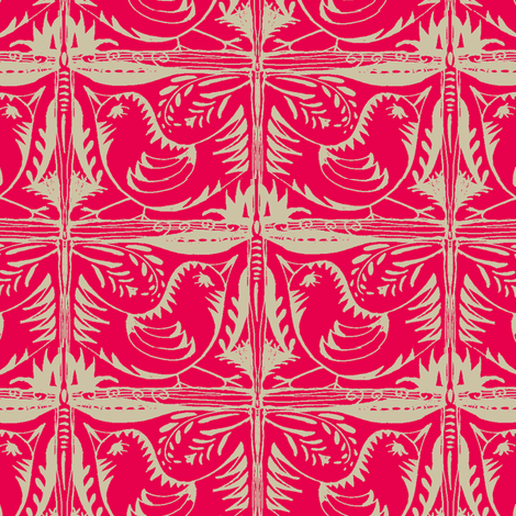 Beady Eyed Bird (beige on red) fabric by wednesdaysgirl on Spoonflower - custom fabric