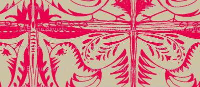 Beady Eyed Bird (red on beige)