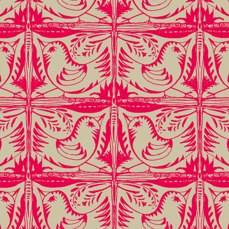 Beady Eyed Bird (red on beige) fabric by wednesdaysgirl on Spoonflower - custom fabric