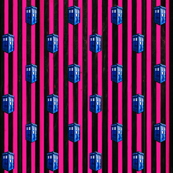 Doctor Who Inspired Hot Pink & Black Striped TARDIS