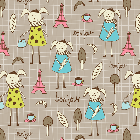 Bonjour Lapin - French Bunnies Tan Brown fabric by heatherdutton on Spoonflower - custom fabric