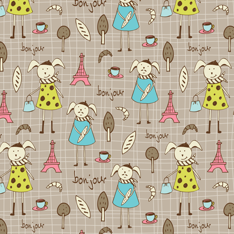 Bonjour Lapin Tan fabric by heatherdutton on Spoonflower - custom fabric