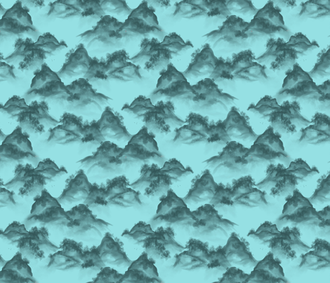 aqua_watercolor_hills fabric by glindabunny on Spoonflower - custom fabric