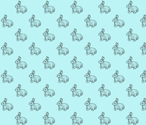 bunnies_aqua fabric by glindabunny on Spoonflower - custom fabric