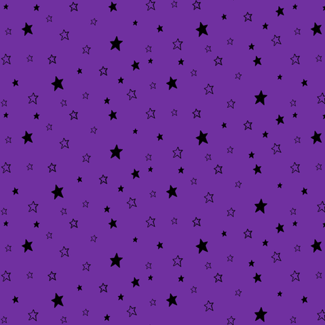 Charcoal Black Stars on Violet Purple