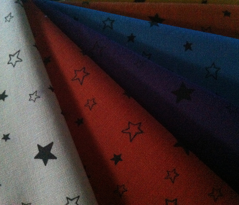 Charcoal Black Stars on Dark Orange Red