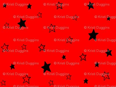 Charcoal Black Stars on Dark Orange Red