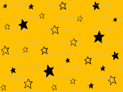 Charcoal Black Stars on Dark Golden Yellow