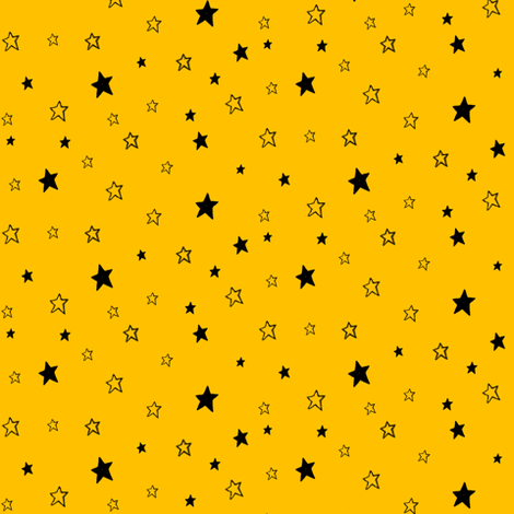 Charcoal Black Stars on Dark Golden Yellow fabric by bohobear on Spoonflower - custom fabric