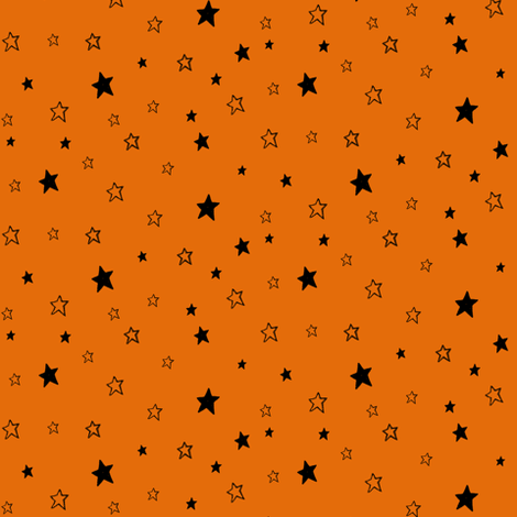 Charcoal Black Stars on Pumpkin Orange fabric by bohobear on Spoonflower - custom fabric