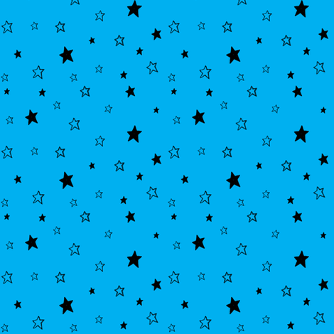Charcoal Black Stars on Azure Sky Blue fabric by bohobear on Spoonflower - custom fabric
