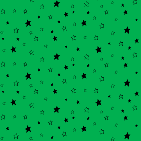 Charcoal black Stars on Kelly Green Background fabric by bohobear on Spoonflower - custom fabric