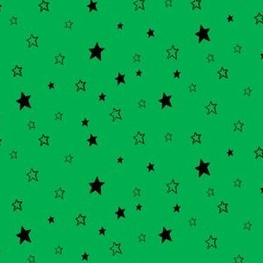 Charcoal black Stars on Kelly Green Background