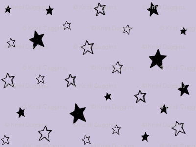 Black & Purple Stars, Charcoal Black Tiny Stars on Lavender Purple