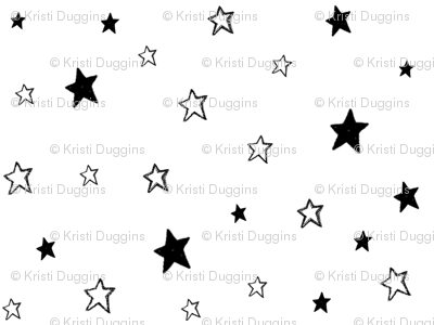 Charcoal Black and White Tiny Stars