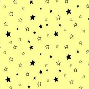 Charcoal Black Stars /Pale Sunshine Lemon Yellow
