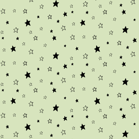 Charcoal Black Stars / Light Pale Green fabric by bohobear on Spoonflower - custom fabric