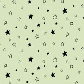 Charcoal Black Stars / Light Pale Green