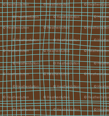 Off The Grid - Plaid Geometric Brown & Teal