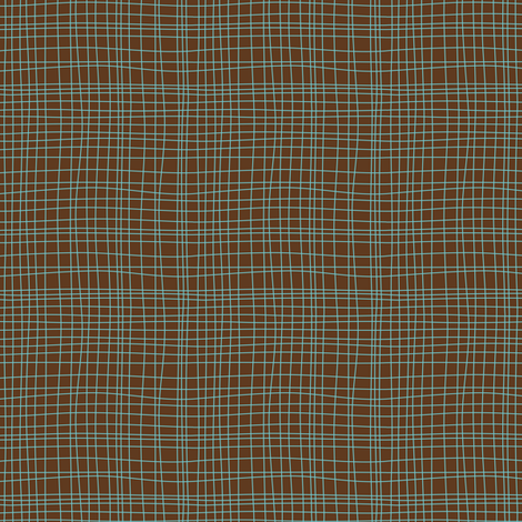 Off The Grid - Plaid Geometric Brown & Teal fabric by heatherdutton on Spoonflower - custom fabric