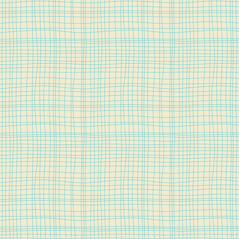 Off The Grid Cream Teal fabric by heatherdutton on Spoonflower - custom fabric