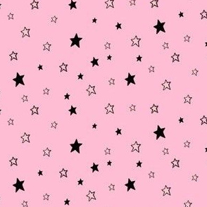 Charcoal Black Tiny Stars on Pale Light Pink