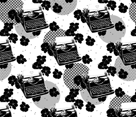 Black Flower Typewriters fabric by siya on Spoonflower - custom fabric