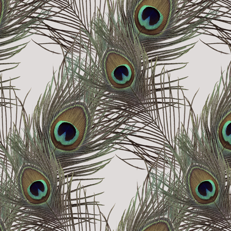 The Fabulous Peacock Pale White Diamond fabric by peacoquettedesigns on Spoonflower - custom fabric