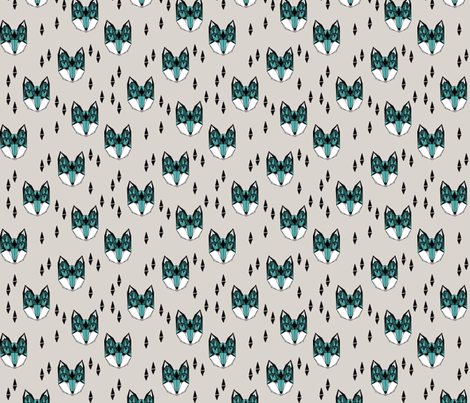 Geometric Fox Head - Light Grey/Tiffany Blue (Smaller) fabric by andrea_lauren on Spoonflower - custom fabric