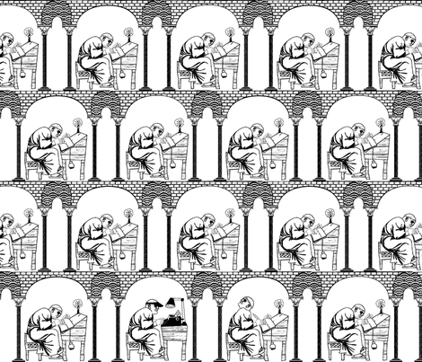 What's that noise? black & white fabric by glimmericks on Spoonflower - custom fabric