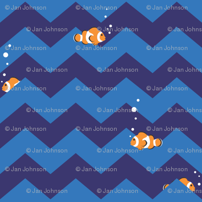 Clownfish in Zigzag Sea (Indigo and Blue)