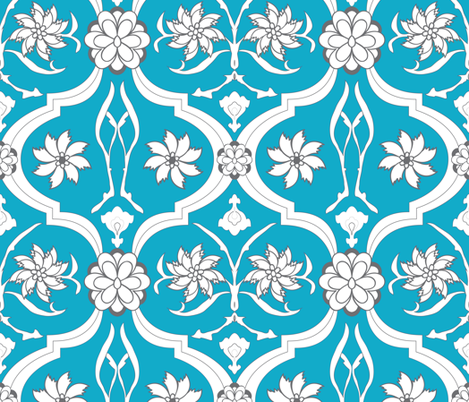 Blue Floral Print fabric by breekerle on Spoonflower - custom fabric