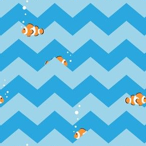 Clownfish in Zigzag Sea (Aqua and Tropical Blue)