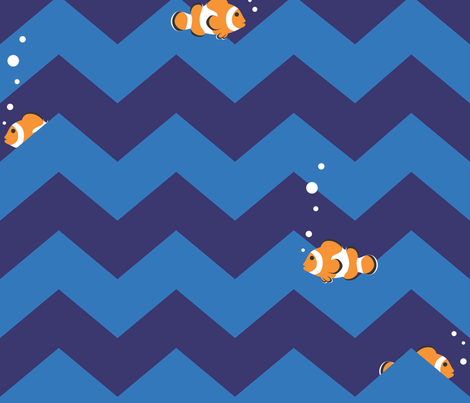 Clownfish in Zigzag Sea (Indigo and Blue - Large) fabric by hootenannit on Spoonflower - custom fabric