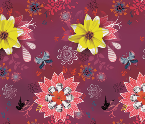 Magpie Love Flowers fabric by milliondollardesign on Spoonflower - custom fabric