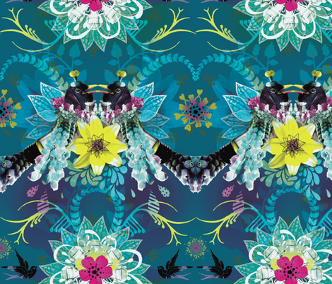 Magpie Love Blue fabric by milliondollardesign on Spoonflower - custom fabric