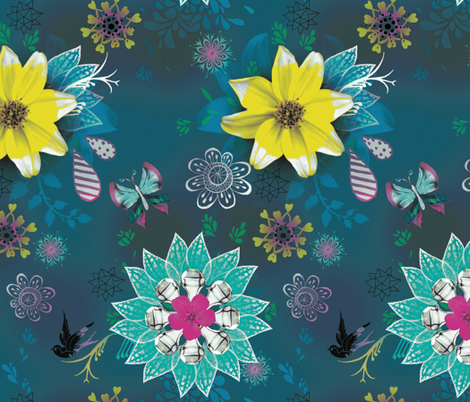 Magpie Love Flowers Blue fabric by milliondollardesign on Spoonflower - custom fabric