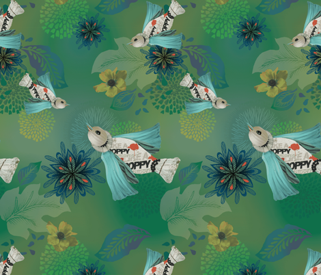 Like A Poppy Green fabric by milliondollardesign on Spoonflower - custom fabric