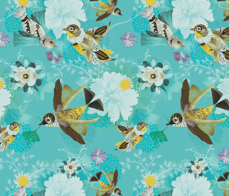 Poppies In The Sky fabric by milliondollardesign on Spoonflower - custom fabric