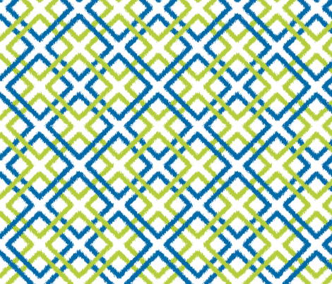 Weave Ikat in blue and green fabric by fridabarlow on Spoonflower - custom fabric